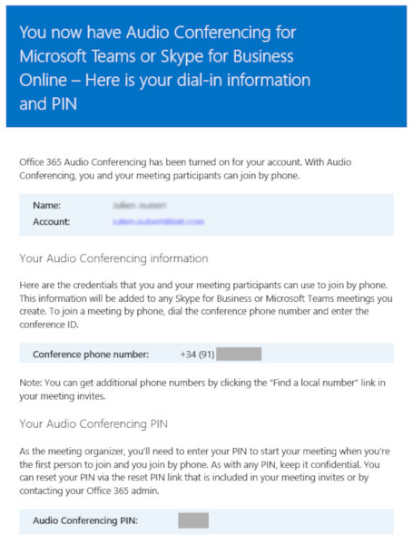 dial-in Audio Conferencing in Teams - confirmation email